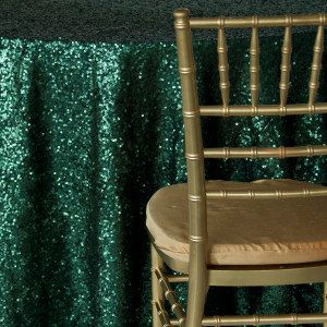 Emerald Green Gorgeous Sequin Table Cloths and Runners - Choose size from drop down menu.