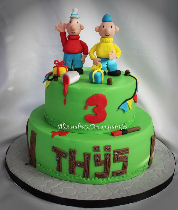 Deze Buurman en buurman taart heb ik gemaakt voor de verjaardag van een jongetje die 3 jaar is geworden.