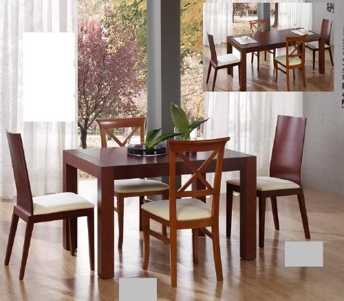Mesa de comedor y sillas dimensiones mesa peque a 75x120 for Sillas comedor polipiel beige