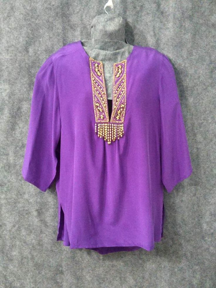 Bob Mackie Wearable Art Purple Beaded Top Silk Qvc Nwt
