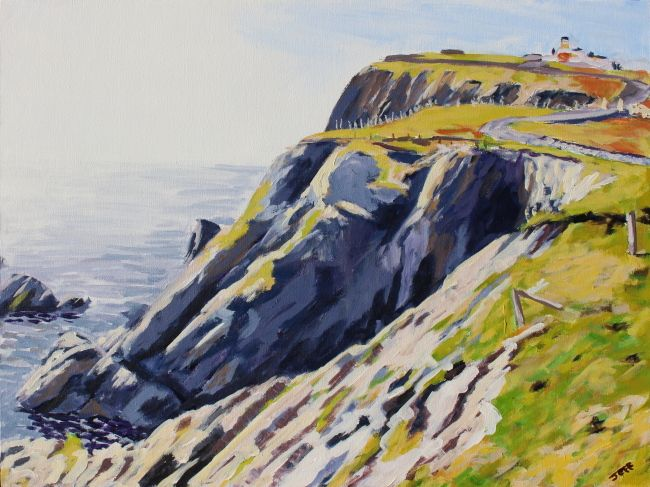 """Sumburgh Head Lighthouse Acrylic 18x24 inches January 2015  This one depicts Sumburgh Head Lighthouse, perched atop the cliff of Sumburgh Head, on the southern tip of Shetland. The Lighthouse dates from 1821, and was designed by Robert Stevenson, one of many generations of Stevensons to design lighthouses, and grandfather to author Robert Louis, of """"Treasure Island"""" fame."""