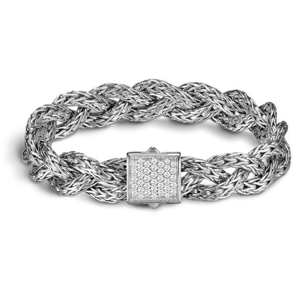 John Hardy Classic Chain Small Braided Bracelet (6.335 BRL) ❤ liked on Polyvore featuring jewelry, bracelets, diamond, john hardy bangle, macrame bracelet, woven chain bracelet, john hardy jewelry and chains jewelry