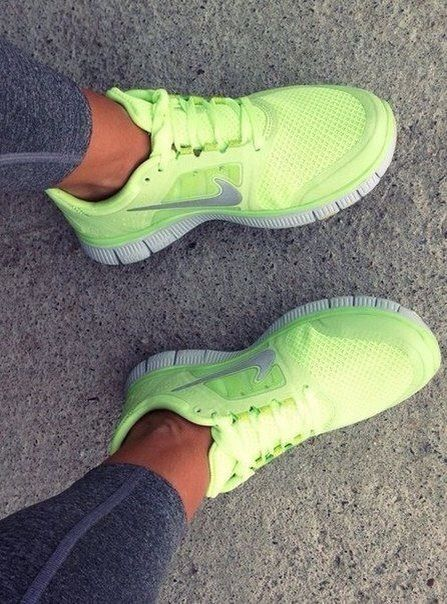 "neon ""highlighter yellow"" nike shoes brighter the shoes faster the runner ❤️"