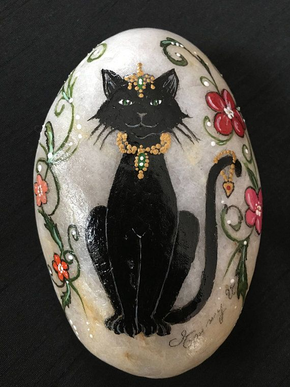 Pierre de chat fantaisie princesse de peint à la main