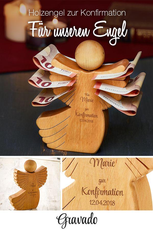 Engel aus Holz mit Gravur zur Konfirmation – personalisiert