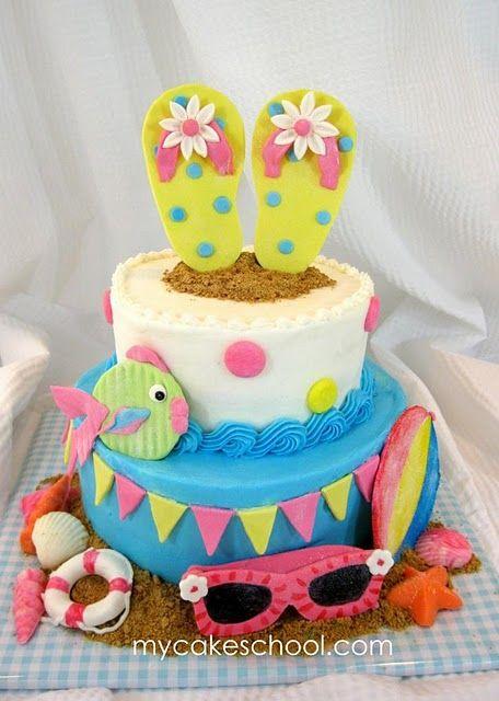 Summer beach cake for birthday parties ~ girly beach theme cake ~ flip flops, sunglasses, fish, beach ~ love it!
