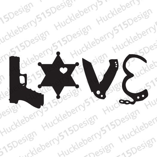 Deputy Sheriff LOVE Silhouette Print Law by Huckleberry515Design