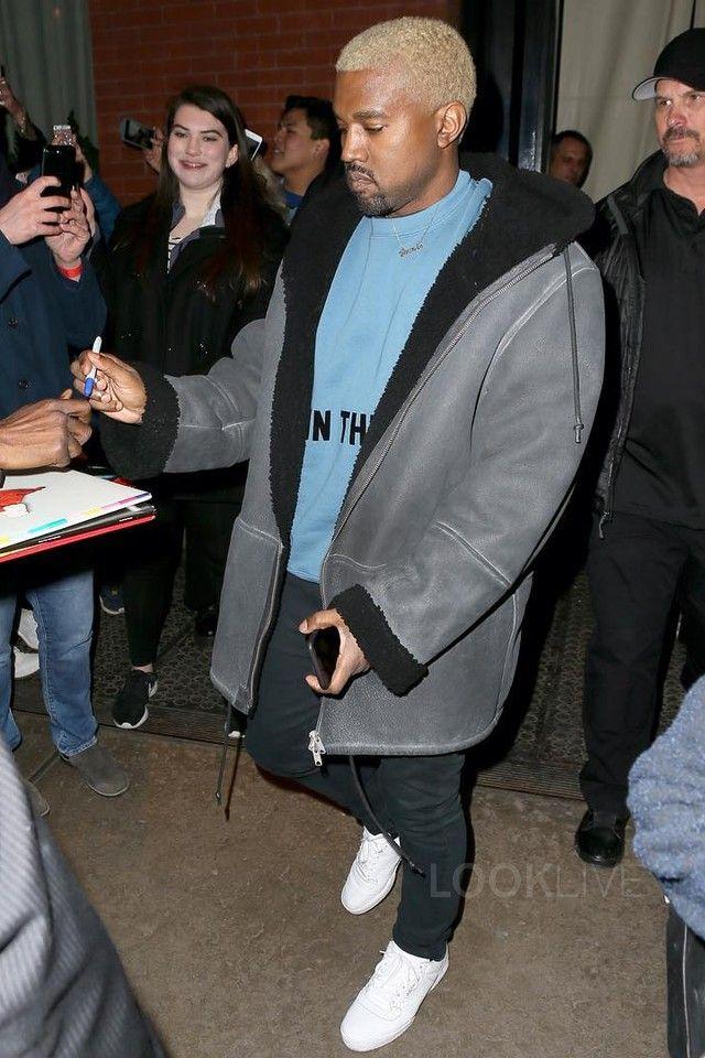 Kanye West wearing  Yeezy Season 5 Sweatshirt, Acne Black Ace Jeans, Adidas Yeezy Season Calabasas Sneakers, Yeezy Season 3 Shearling Coat   KanYe