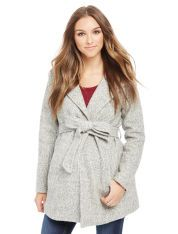 Hooded Boucle Maternity Jacket