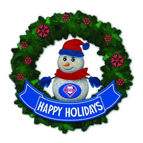 Philadelphia Phillies 15in Light-Up Snowman Wreath