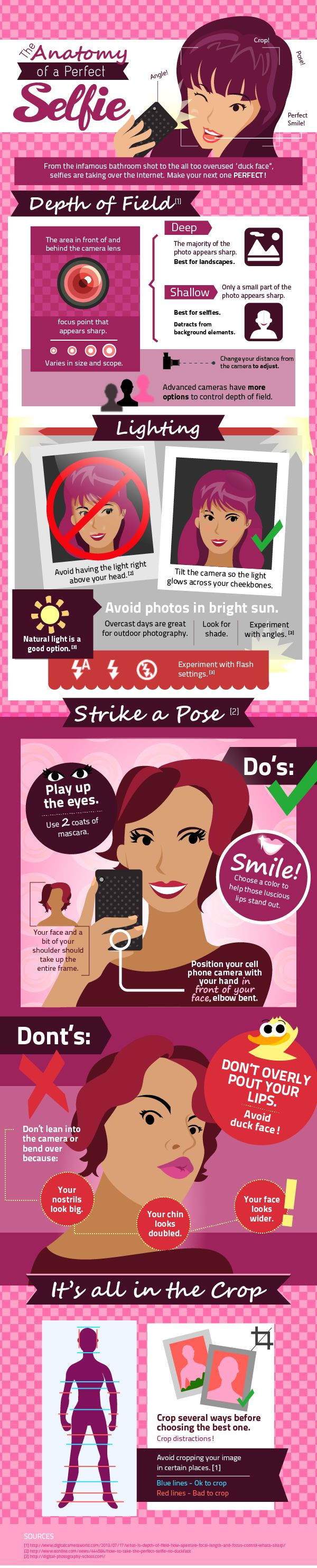 So, if you don't have a good seflie (or a collection of good selfies), you should check out today's extremely relevant infographic, The Anatomy of a Perfect Selfie. It has tips on how to select the proper lighting conditions and how to properly crop photos. Most importantly, it advises you to not puck your lips, because it makes you look duck-ish.
