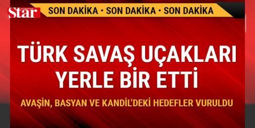 Türk savaş uçakları yerle bir etti : TÜRK Silahlı Kuvvetleri Avaşin Basyan ve Kandil bölgelerindeki terör örgütü PKK hedeflerine hava harekatı düzenlendiğini açıkladı.  http://ift.tt/2dyCTtD #Türkiye   #terör #bölgelerin #Kandil #örgütü #hedeflerine