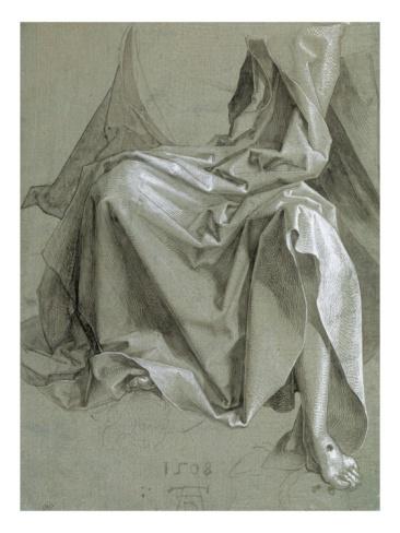 Draperie couvrant les genoux et le torse d'un Chris assis by Albrecht Dürer