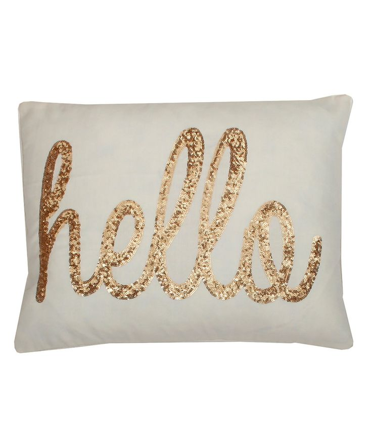 $28/Look what I found on #zulily! Papyrus Gold 'Hello' Throw Pillow by THRO #zulilyfinds