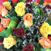 12 Mixed Roses with Vase (50cm)
