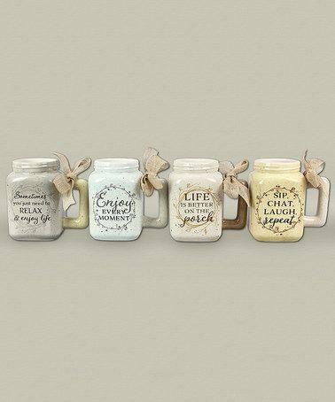 This Ceramic Mason Jar Mug - Set of Four is perfect! #zulilyfinds