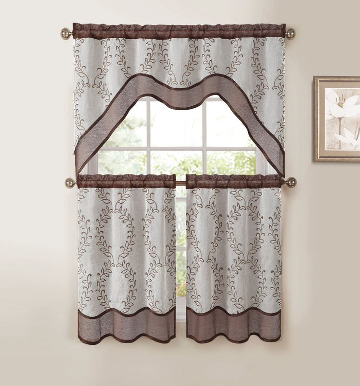 Amazon.com - 3-Pc Kitchen Window Curtain Set: Two-Layer Sheer, Vine Embroidery (Chocolate Brown) -