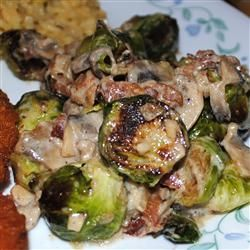 Brussels Sprouts in a Sherry Bacon Cream Sauce Recipe on Yummly