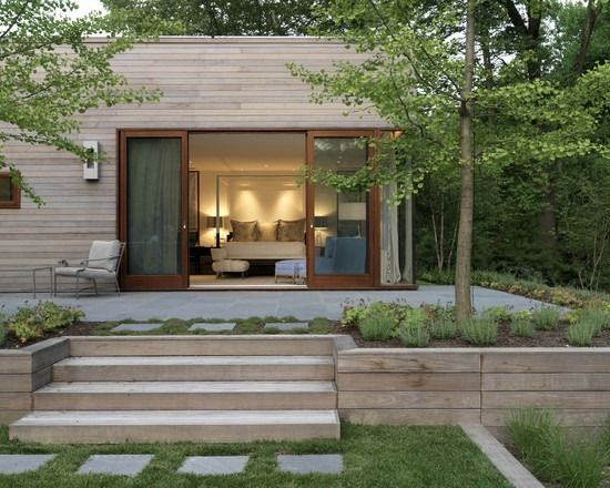 Terrassen Beet Umrandung Holz Elemente Treppenstufen Gartenmauer