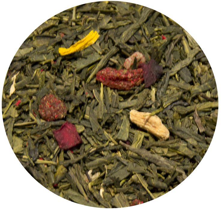"""""""Té Verde Juventud"""", té verde con bayas de goji, aloe vera, ginseng, remolacha y flor de granada. 8€/100gr"""