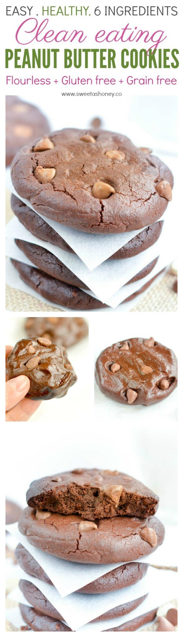 Healthy Peanut Butter Cookies with chocolate chips. The best Clean Eating cookies. NO refined ingredients, Flourless, No Sugar, easy 6 ingredients recipe to whip in 5 minutes. Grain free, gluten free and dairy free.