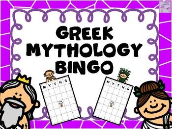 Have some BINGO fun with Greek Mythology!   This BINGO product contains 30 different bingo boards and 70 bingo calling cards.  Each bingo board is unique.  Each bingo calling card contains a mythological god, goddess, place, monster, or character on it.