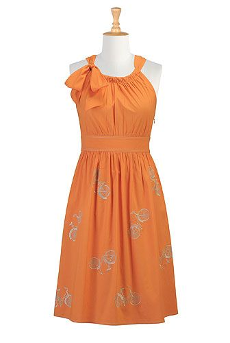 bicycle dress: Poplin Dresses, Bike, Fashion Dresses, Orange Bicycles, Cute Dresses, Bicycles Poplin, Bicycle Dresses, Orange Dress, Bicycles Dresses