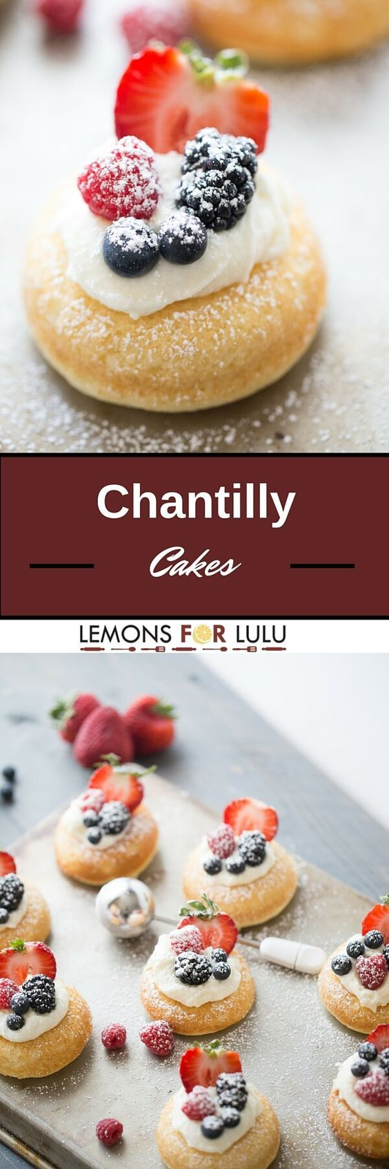 Chantilly cake is a layer cake with a mascarpone topping and fresh fruit.  These cakes have the same flavor, but are so much easier to prepare!