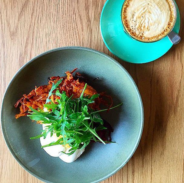 Neighbourhood brunch - halloumi wins me over every time @theincinerator 〰 Sweet potato rosti, halloumi, beetroot relish with poached eggs #aquabowerbird #breakfastinsydney