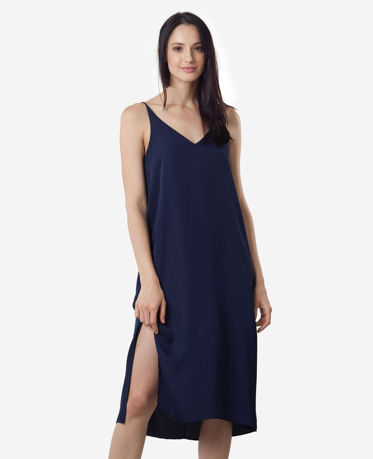 Instant outfit, looks dreamy, feels like jammies. Made from 100% silk, this dress balances a clean, structured cut with the beautiful relaxed drape of Georgette Satin.