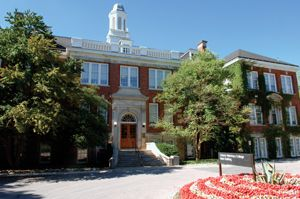 Front entrance to the Ontario Veterinary College (OVC) main building.    In 2012, OVC celebrates it's 150-year anniversary!