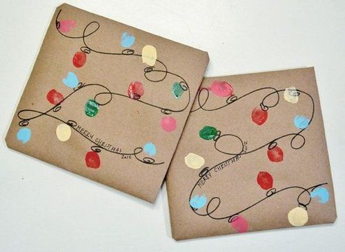 Cute Christmas Gift Wrap Ideas- thumbprint Christmas lights, can do as canvas, apron, shirt...so many options!