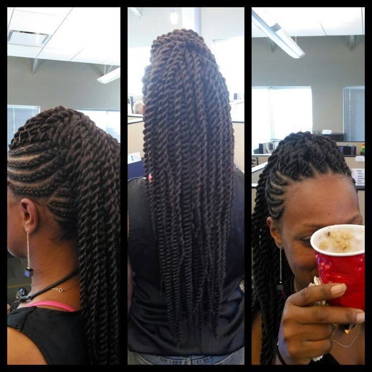 Braided mohawk w/ crochet twists
