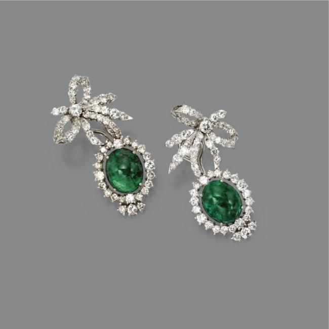 earrings with cabochon, emeralds and diamonds