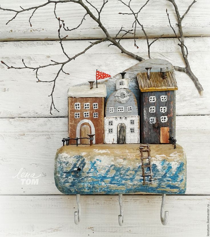 Driftwood art | Купить Ключница/вешалка 'Тихая набережная' домики у моря - белый, домики, домик на море, приморский городок
