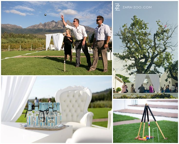 Entertain your guests while you are away on the #photo #shoot with games like #french #boules #croquet and #giant chess.  See more of this wedding at #Kleinevalleij on the #ZaraZoo blog http://www.zara-zoo.com/blog/wedding-at-kleinevalleij/