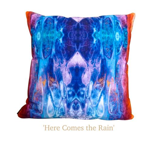'Here Comes the Rain' Art Cushion | Throw Pillow - Unique original handmade designs, soft, silky, luxurious! $65 http://coloursofhope.com.au/store?category=cushion