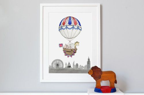 New London Balloon Journey print for a British themed bedroom!