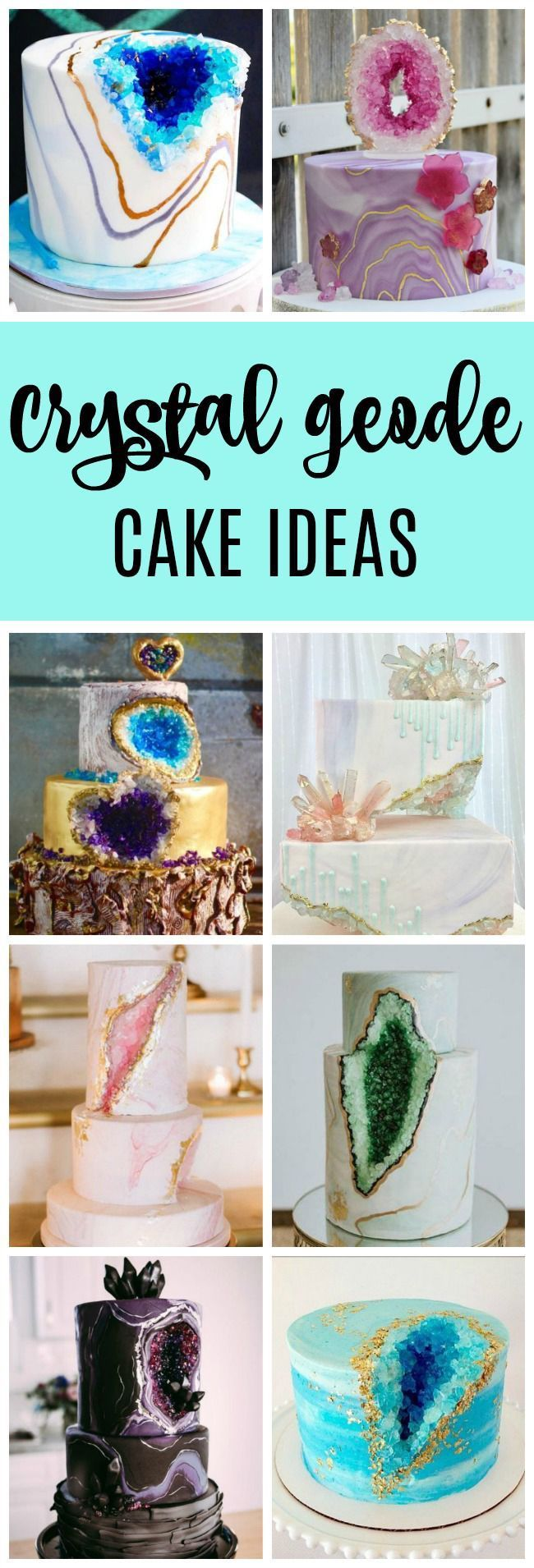 The geode cake trend is going strong this year. Here's 15 Crystal Geode Birthday Cakes to inspire your own creation. | cake design | birthday cake ideas | wedding cake ideas | geode cake ideas |