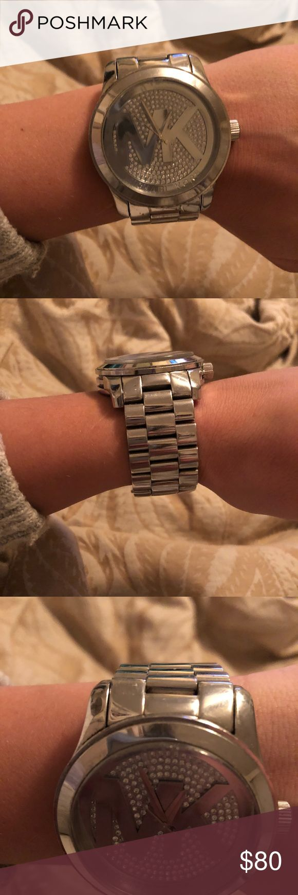 Michael Kors Silver Watch This has been loved! This watch is perfect to wear on an everyday basis! It does have some scratches and knicks on the face of the watch which are pictured. I did have some links taken out. Overall the watch is still in pretty good condition and when wearing you can't notice the scratches! Selling due to me not wearing it anymore due to getting a new one! Michael Kors Accessories Watches