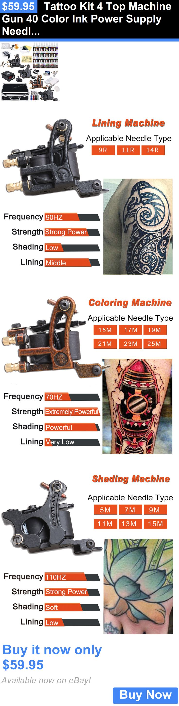 Tattoo Complete Kits: Tattoo Kit 4 Top Machine Gun 40 Color Ink Power Supply Needle Complete D139dd-11 BUY IT NOW ONLY: $59.95