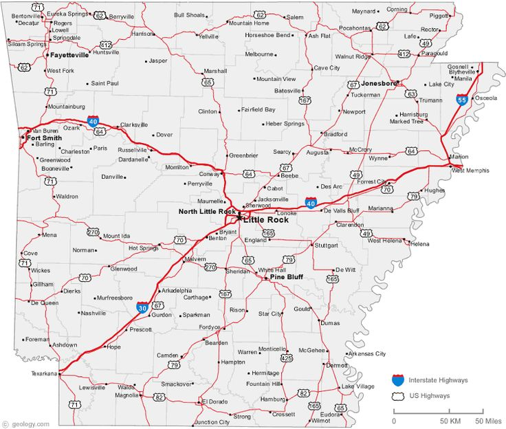 map of Arkansas cities