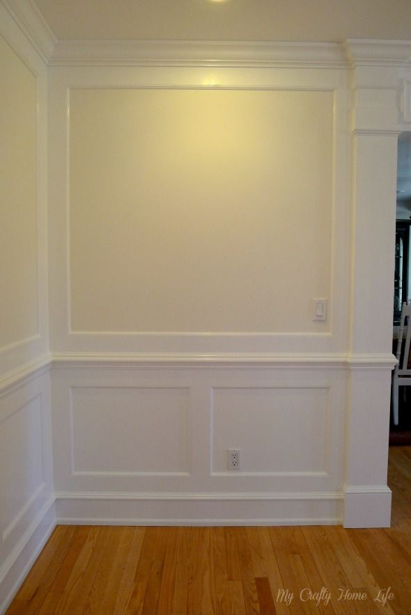 All of the trim is pained in BM Snowfall White. The walls are BM White Dove.
