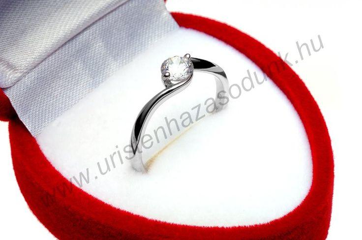 E6FC - 29.750 Ft 14 karátos fehér arany cirkónia köves Eljegyzési Gyűrű 48-60-as méretig azonnal raktárról www.uristenhazasodunk.hu