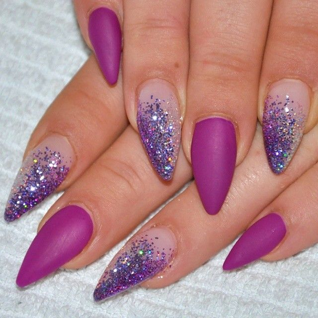 Purple and Glitter Stiletto Nail Art | See more nail designs at…