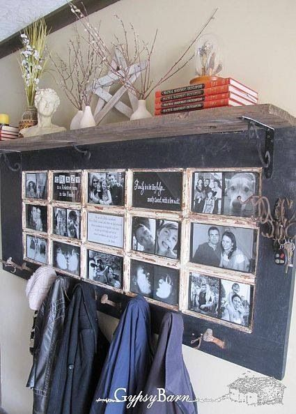 great idea using an old door with multiple window pane opeings!