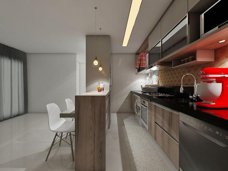 Detalhe da cozinha em estilo americano.