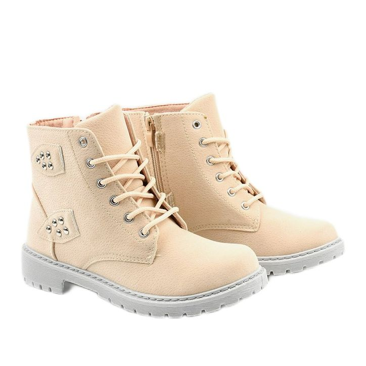 Bezowe Traperki Z Suwakiem Delothia Bezowy Boots Timberland Boots Shoes