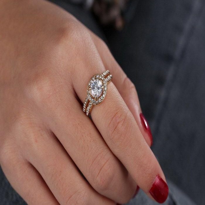 Выходные предложения его и ее обещание кольцо обручальное кольцо милый горный хрусталь позолоченные Кольца для Женщин Кристалл Обручальные Обручальные Кольца