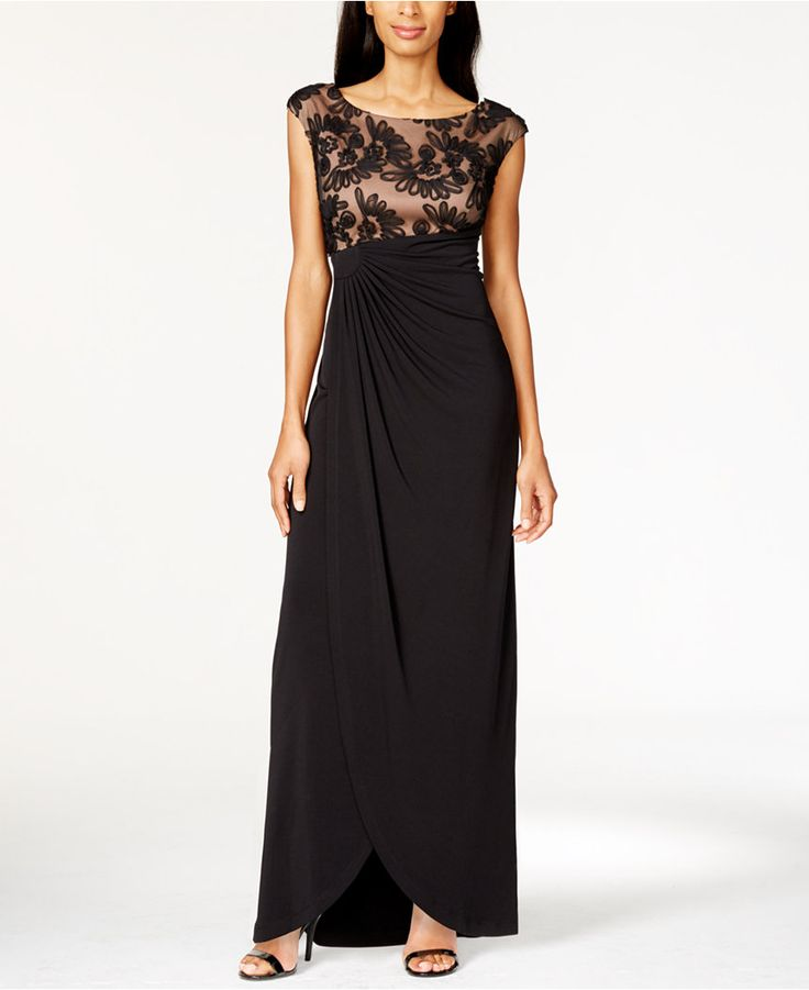 Connected Plus Size Soutache Faux-Wrap Gown - Dresses - Plus Sizes - Macy's